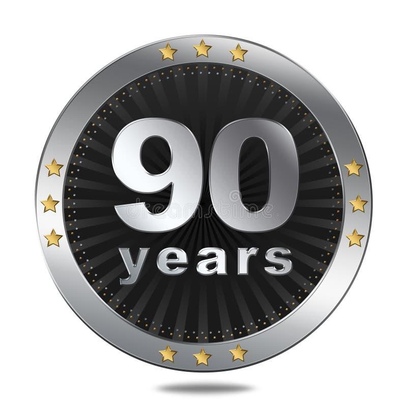 Insigne de 90 anniversaires - couleur argentée illustration stock