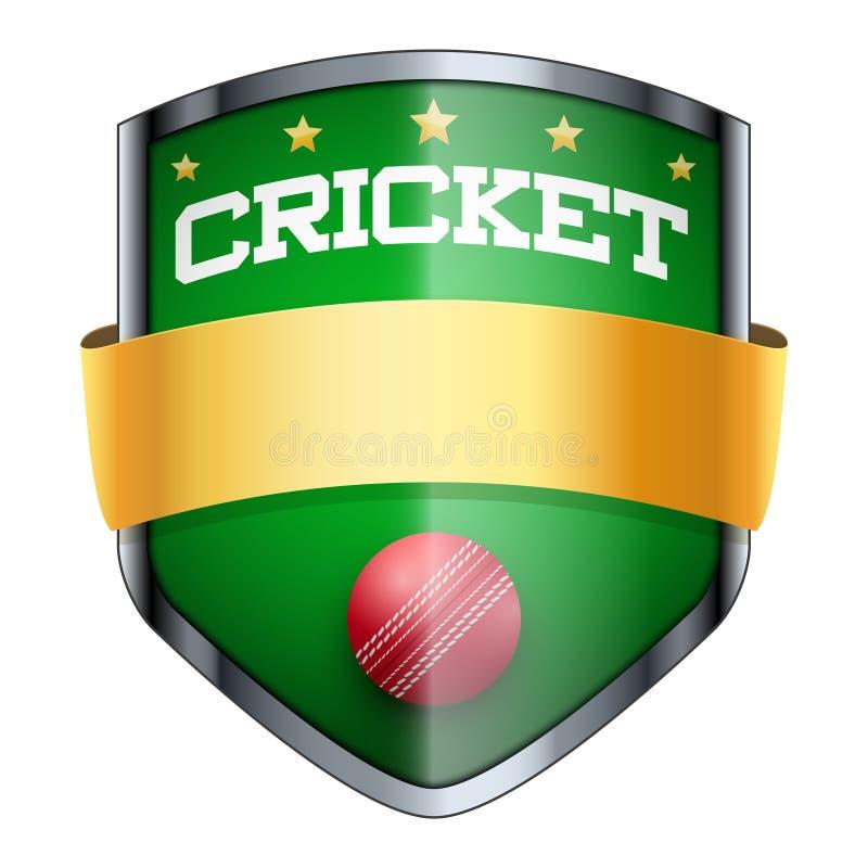 Insigne de bouclier de cricket illustration de vecteur