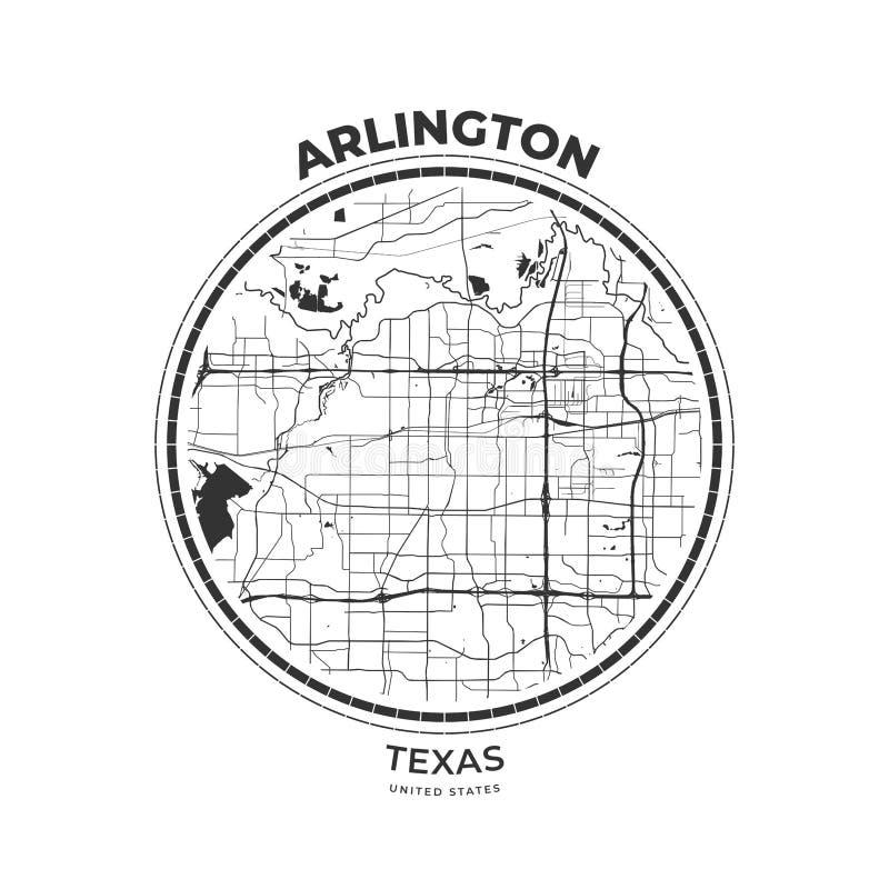 Insigne de carte de T-shirt d'Arlington, le Texas illustration de vecteur