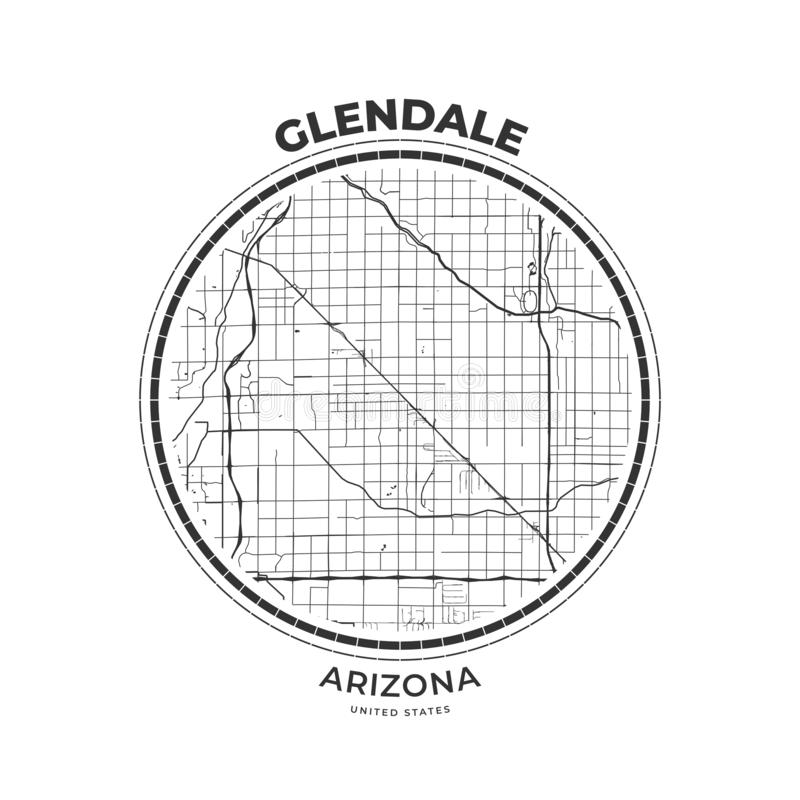 Insigne de carte de T-shirt de Glendale, Arizona illustration de vecteur