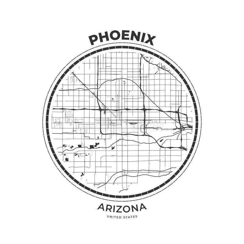 Insigne de carte de T-shirt de Phoenix, Arizona illustration stock