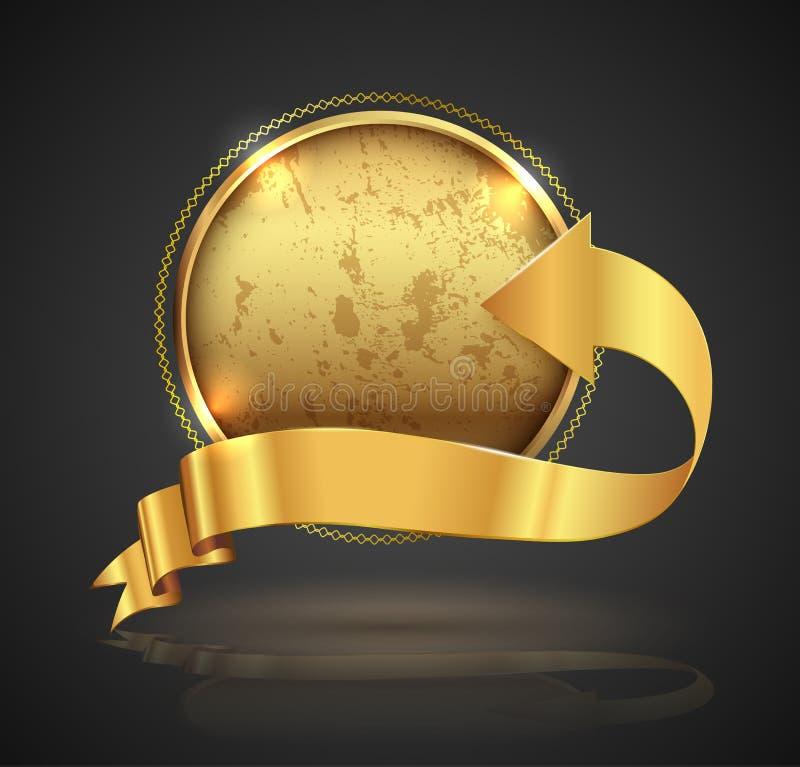Insigne de cercle d'or illustration stock