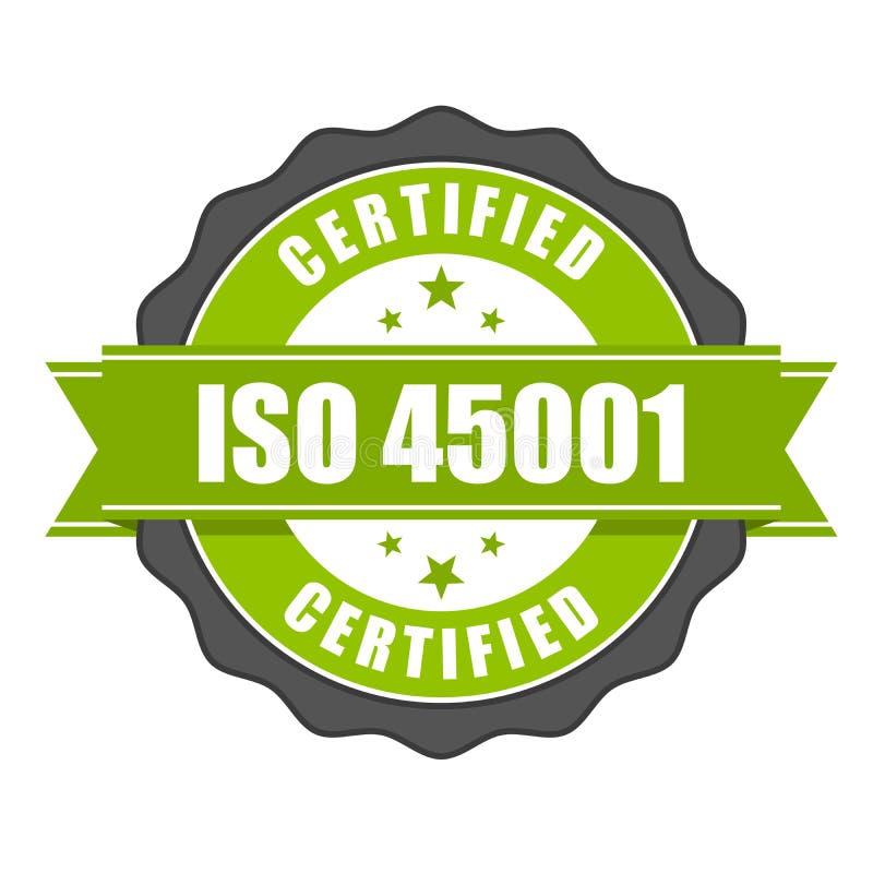 Insigne de certificat de norme d'OIN 45001 illustration stock
