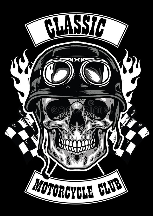 Insigne de club de moto avec le casque de port de crâne illustration libre de droits
