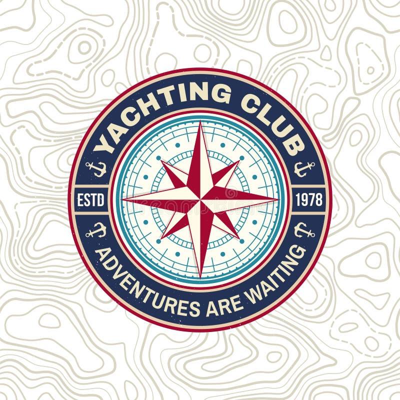 Insigne de club de yacht Vecteur Concept pour la chemise, la copie, le timbre ou la pi?ce en t de plaisance Conception de typogra illustration libre de droits