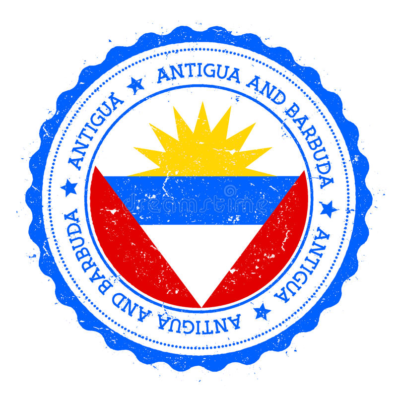 Insigne de drapeau de l'Antigua illustration stock