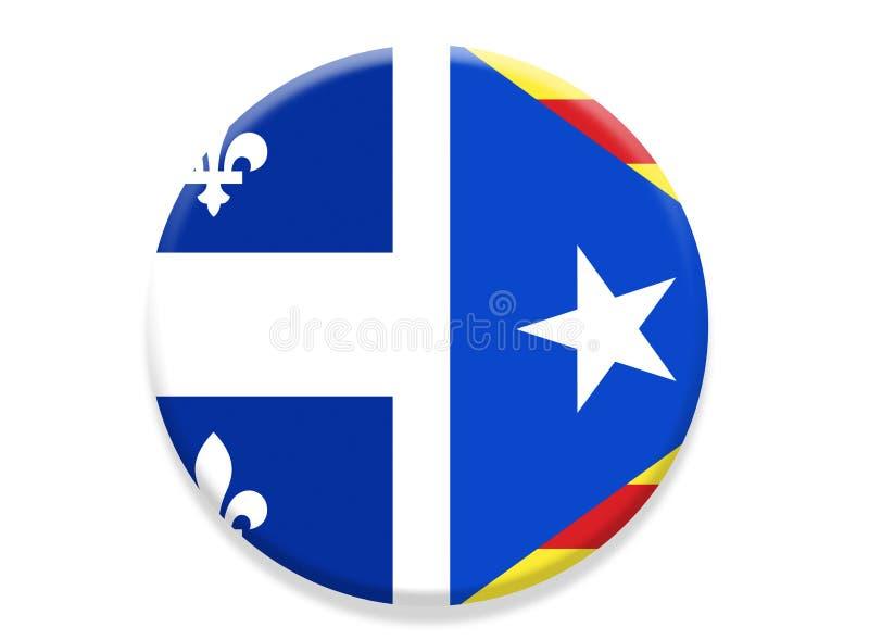 Insigne de drapeau de la Catalogne et du Québec illustration de vecteur