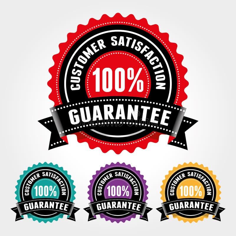 Insigne de garantie de satisfaction du client et signe - bannière, autocollant, étiquette, icône, timbre, label illustration de vecteur