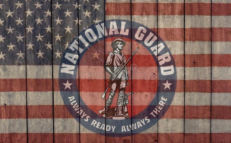 Insigne de garde nationale et drapeau américain toujours prêt photo stock