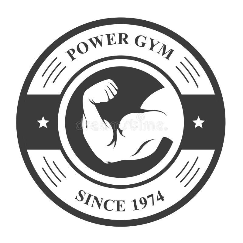 Insigne de gymnase - main du ` s de bodybuilder, emblème de sport illustration libre de droits