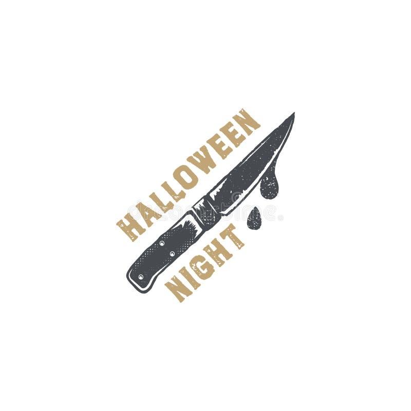 Insigne de Halloween Conception tirée par la main de logo de vintage Style monochrome Éléments de typographie et symbole de Hallo illustration de vecteur