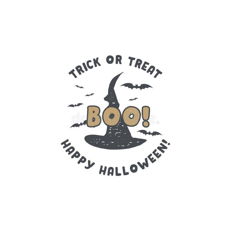 Insigne de Halloween Conception tirée par la main de logo de vintage Style monochrome Éléments de typographie et symboles de Hall illustration stock