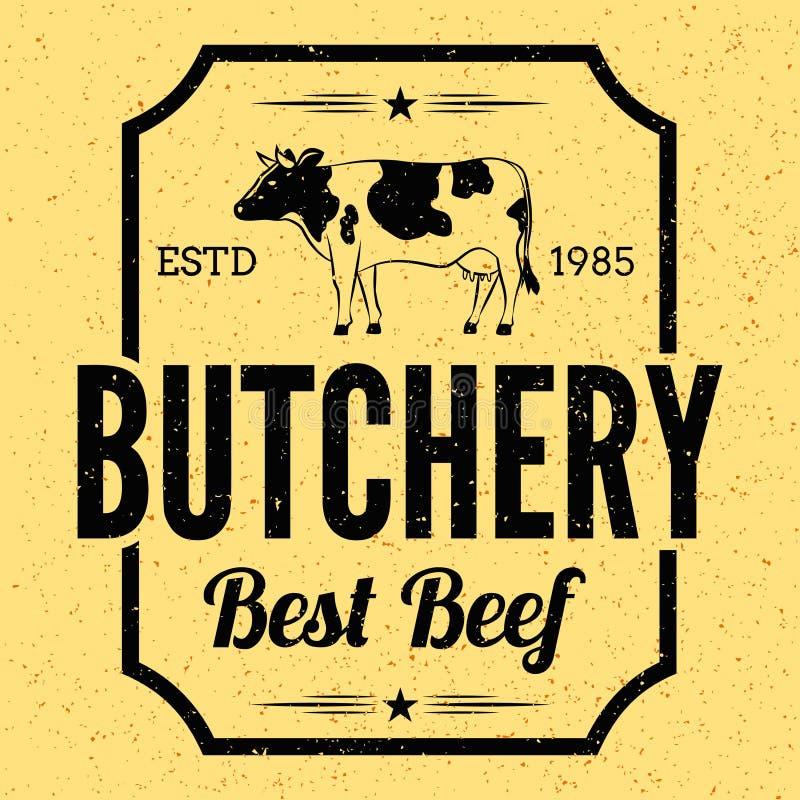 Insigne de label de boucherie de cru avec la viande de vaches et les couteaux Affiche de viandes de boucherie images stock