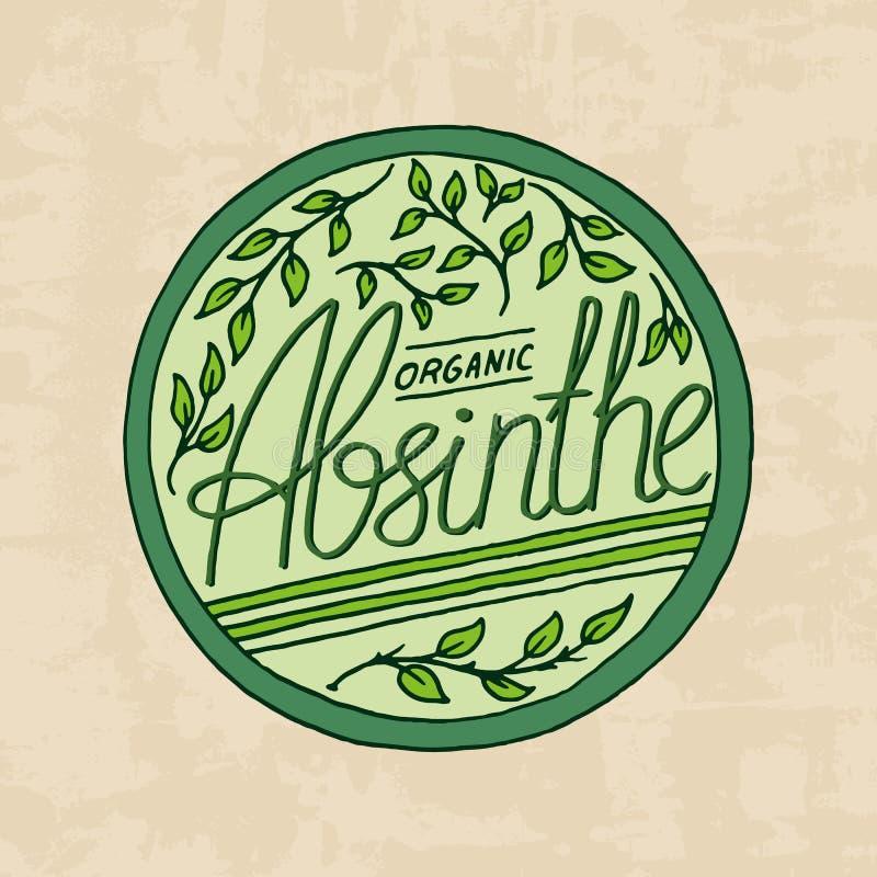 Insigne de label d'absinthe de vintage Logo fort d'alcool avec l'élément calligraphique Vue pour la bannière d'affiche Autocollan illustration libre de droits