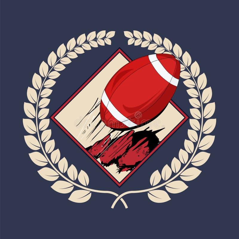 Insigne de label de logo de football américain illustration de vecteur
