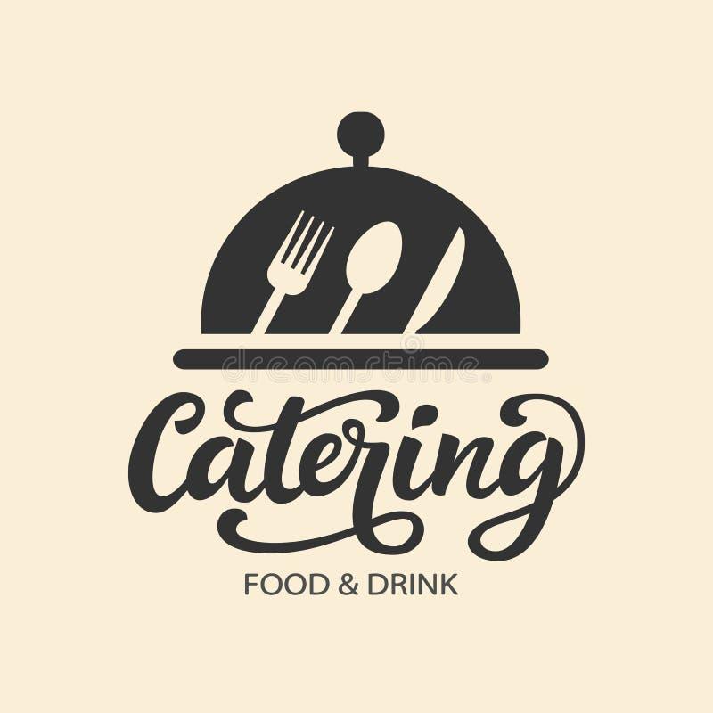 Insigne de logo de vecteur de restauration avec la calligraphie moderne écrite par main illustration libre de droits