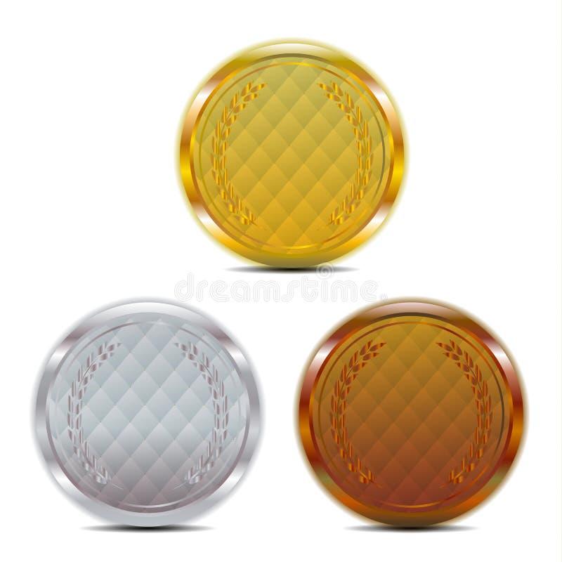 Insigne de luxe de bronze d'argent d'or illustration libre de droits