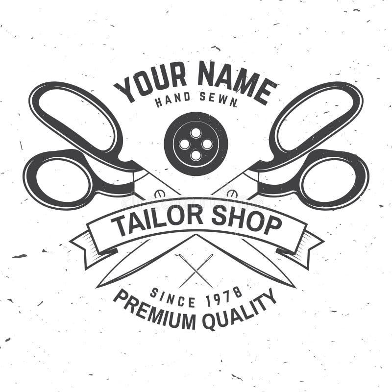 Insigne de magasin de tailleur Vecteur Concept pour la chemise, la copie, le label de timbre ou la pièce en t Conception de typog illustration stock