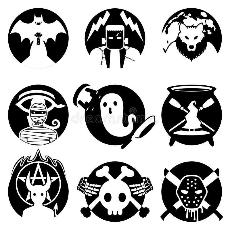 Insigne de monstre de Halloween/monochrome réglé d'emblème illustration libre de droits
