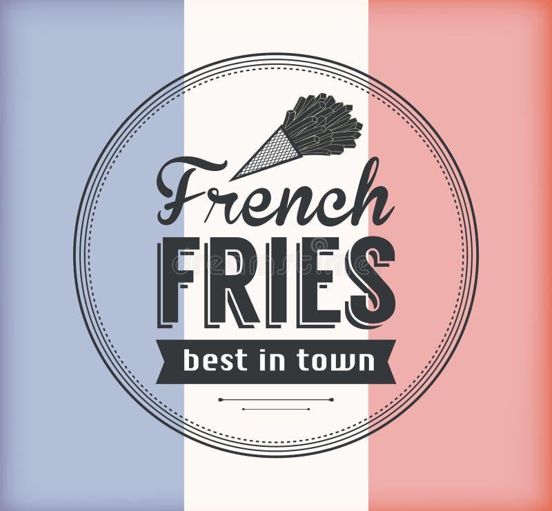 Insigne de pommes frites de vecteur avec le style linéaire images stock