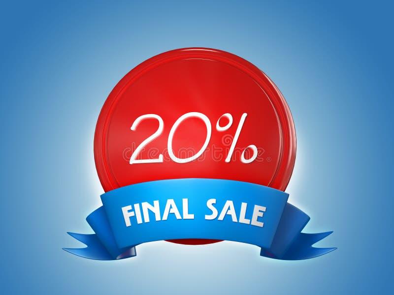 Insigne de ruban - 20 pour cent, vente finale 3d rendent illustration de vecteur