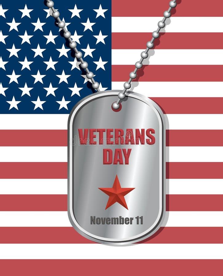 Insigne de soldats sur le fond du drapeau des Etats-Unis Jour de vétérans illustration stock