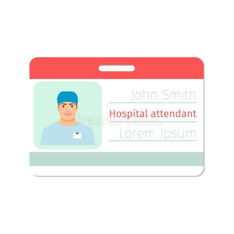 Insigne de spécialiste médical en préposé d'hôpital illustration libre de droits