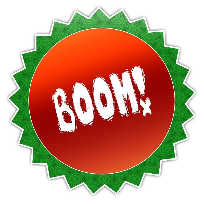 Insigne de tournesol avec le texte de BOOM illustration stock