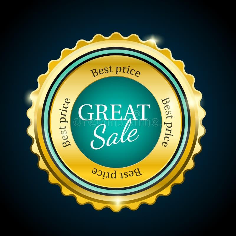 Insigne de vente de prime d'or grand Élément cyan de conception illustration stock