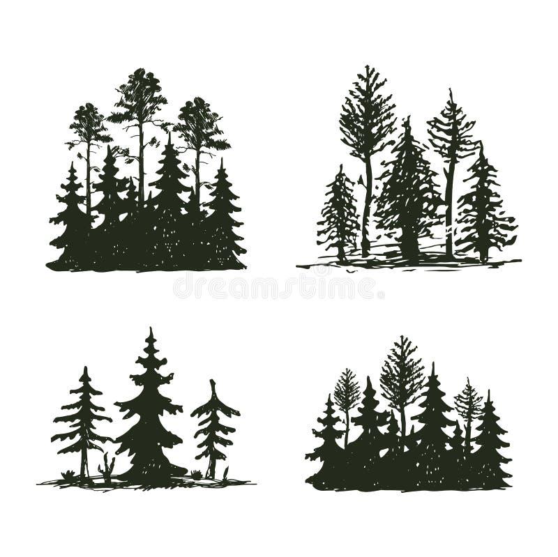 Insigne de voyage d'arbre de silhouette extérieure de noir, cèdre de branche de sapin de pin de dessus et abrégé sur naturels con illustration stock