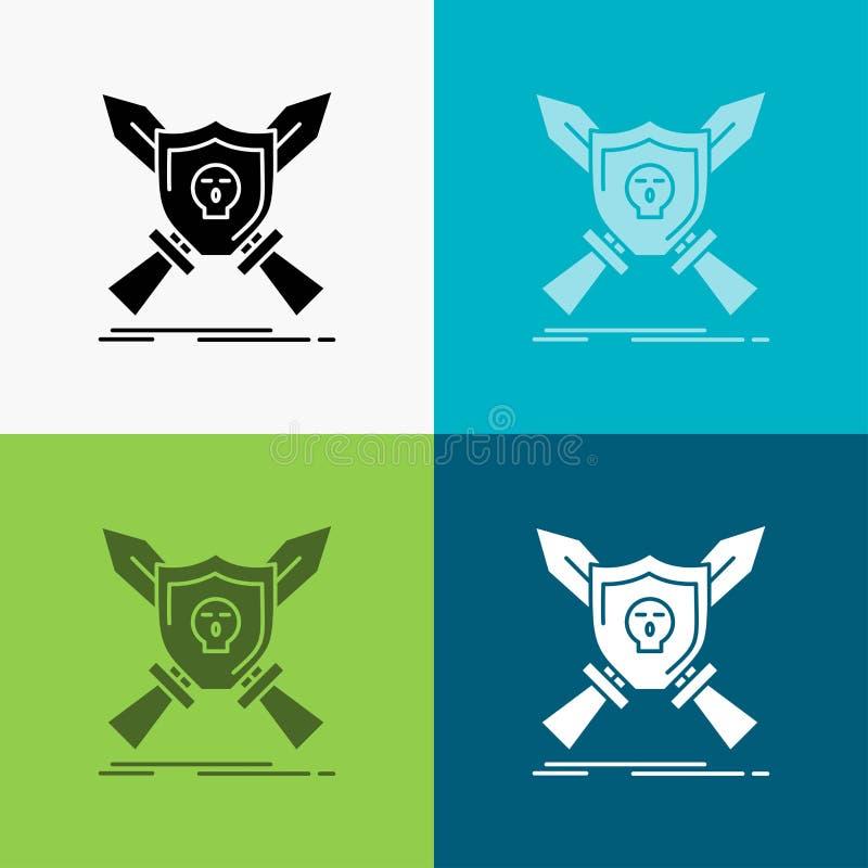 Insigne, emblème, jeu, bouclier, icône d'épées au-dessus de divers fond conception de style de glyph, con?ue pour le Web et l'APP illustration libre de droits
