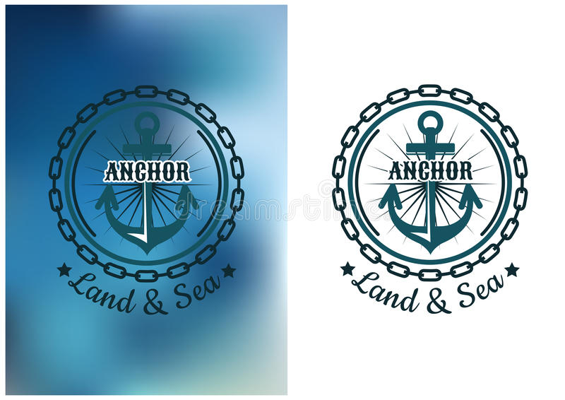Insigne héraldique naval avec l'ancre et la chaîne ronde illustration stock