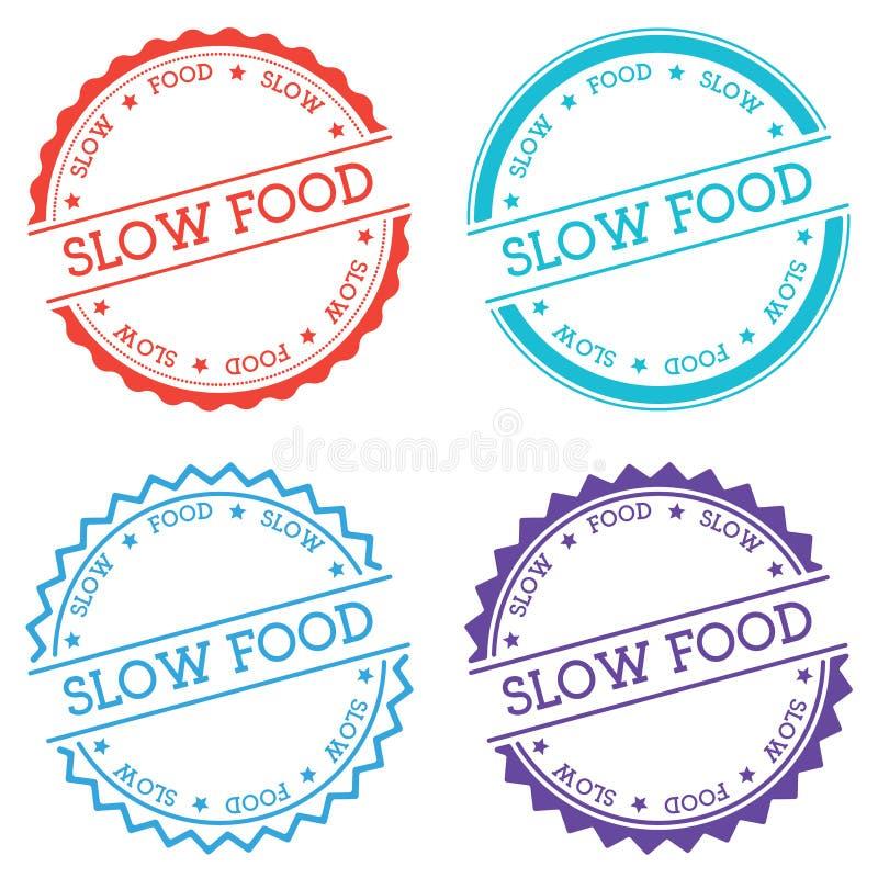 Insigne lent de nourriture d'isolement sur le fond blanc illustration libre de droits