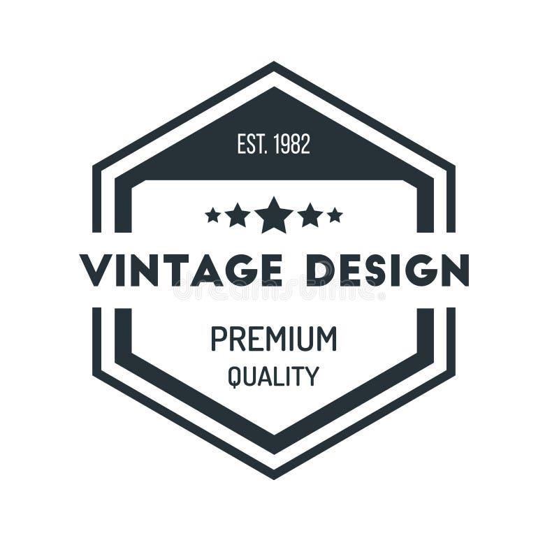 Insigne Logo Design Template Vector Symbol de hippie de vintage d'hexagone illustration de vecteur