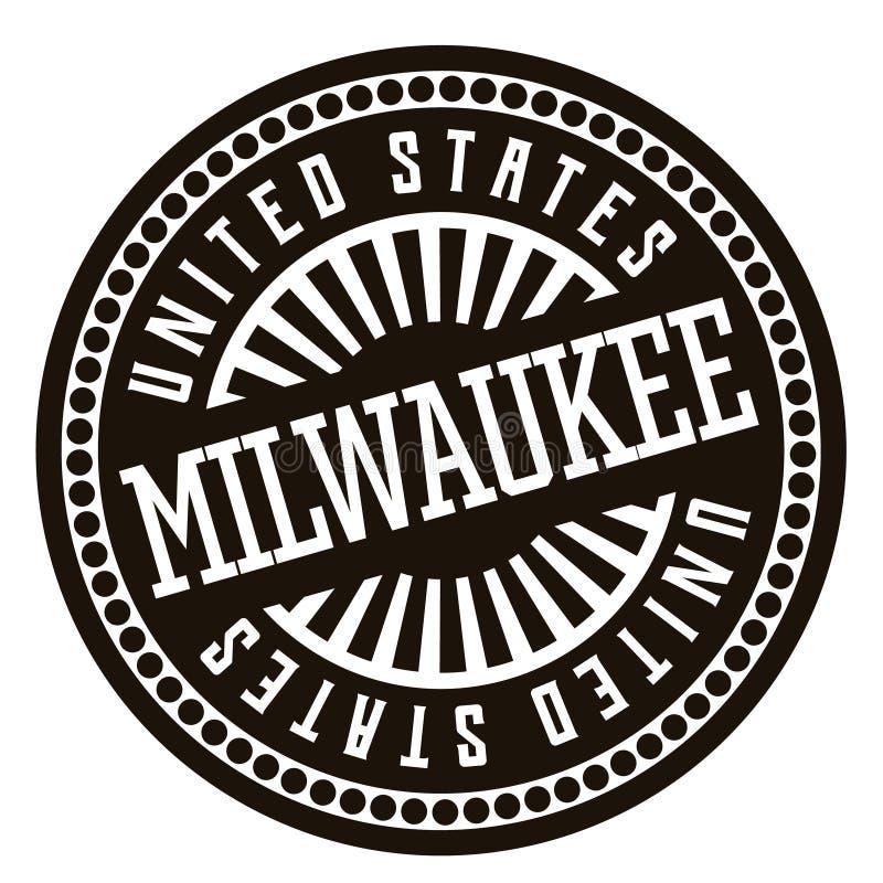 Insigne noir et blanc de Milwaukee illustration de vecteur