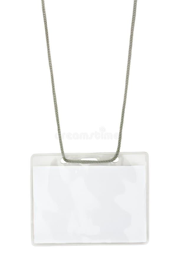 Insigne nommé blanc sur la lanière images stock
