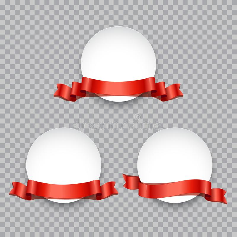 Insigne ou bannière rond décorée de l'ensemble rouge de ruban Éléments de conception de promotion de vecteur illustration de vecteur