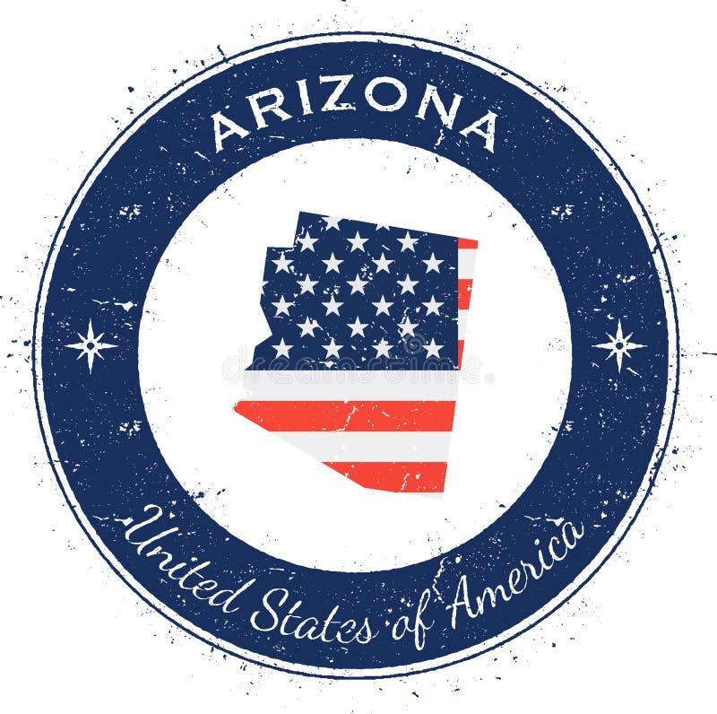 Insigne patriotique circulaire de l'Arizona illustration de vecteur
