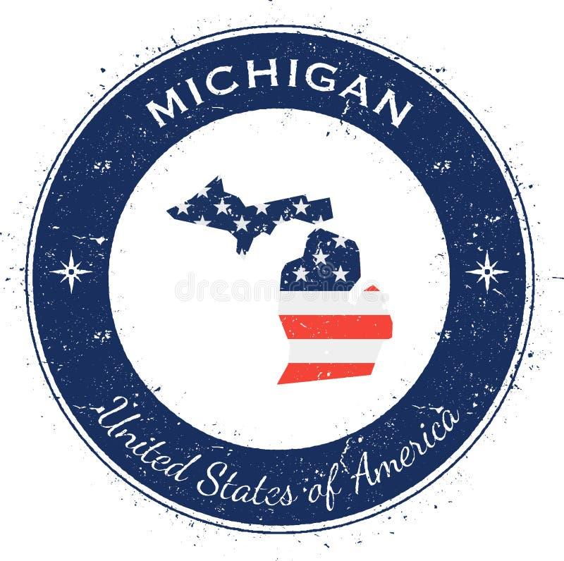 Insigne patriotique circulaire du Michigan illustration stock
