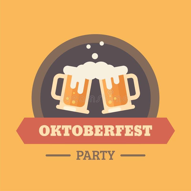 Insigne plat d'illustration de festival de bière d'Oktoberfest illustration stock