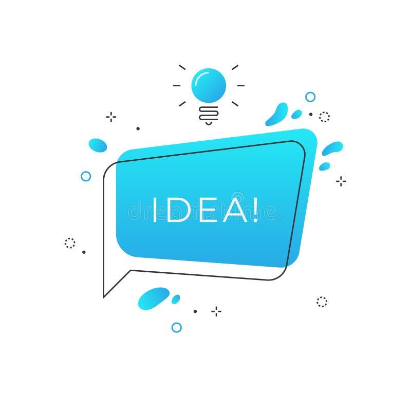Insigne rapide d'astuces L'idée de tour de bulle de la parole avec l'ampoule, font un brainstorm le conseil créatif d'affaires, a illustration de vecteur