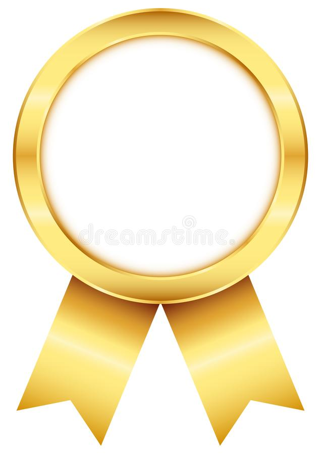 Insigne rond d'or de récompense avec le ruban assorti illustration stock