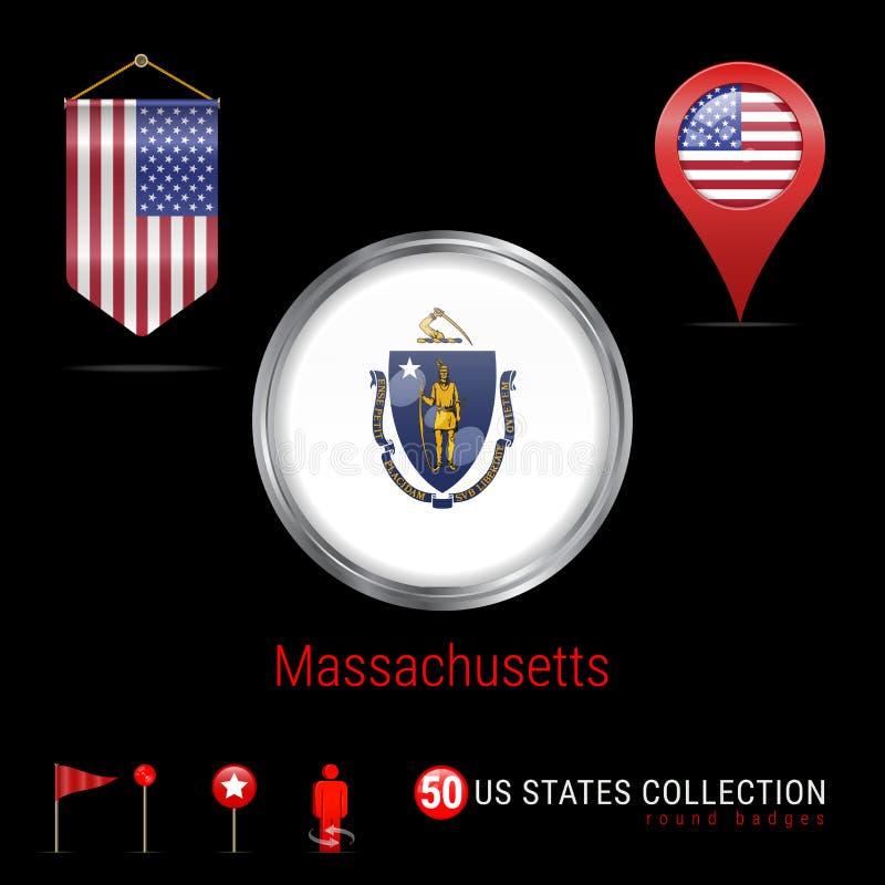 Insigne rond de vecteur de Chrome avec le drapeau d'état du Massachusetts USA Drapeau de fanion des Etats-Unis Indicateur de cart illustration de vecteur