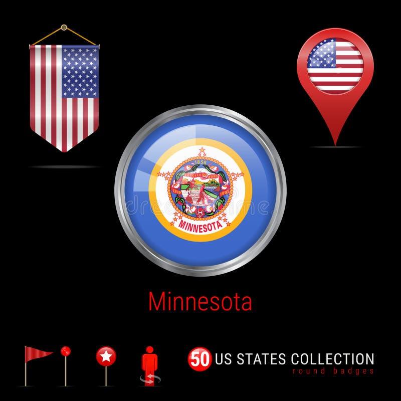 Insigne rond de vecteur de Chrome avec le drapeau d'état du Minnesota USA Drapeau de fanion des Etats-Unis Indicateur de carte -  illustration libre de droits
