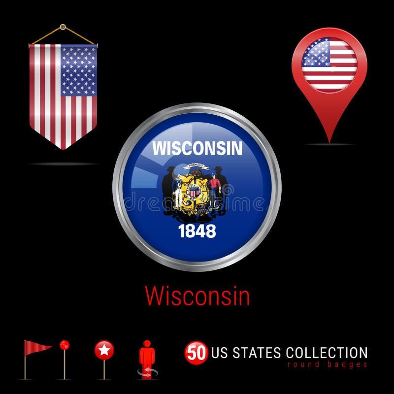 Insigne rond de vecteur de Chrome avec le drapeau d'état du Wisconsin USA Drapeau de fanion des Etats-Unis Indicateur de carte -  illustration stock