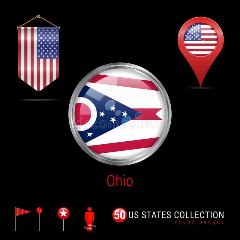 Insigne rond de vecteur de Chrome avec le drapeau d'état de l'Ohio USA Drapeau de fanion des Etats-Unis Indicateur de carte - Eta illustration stock