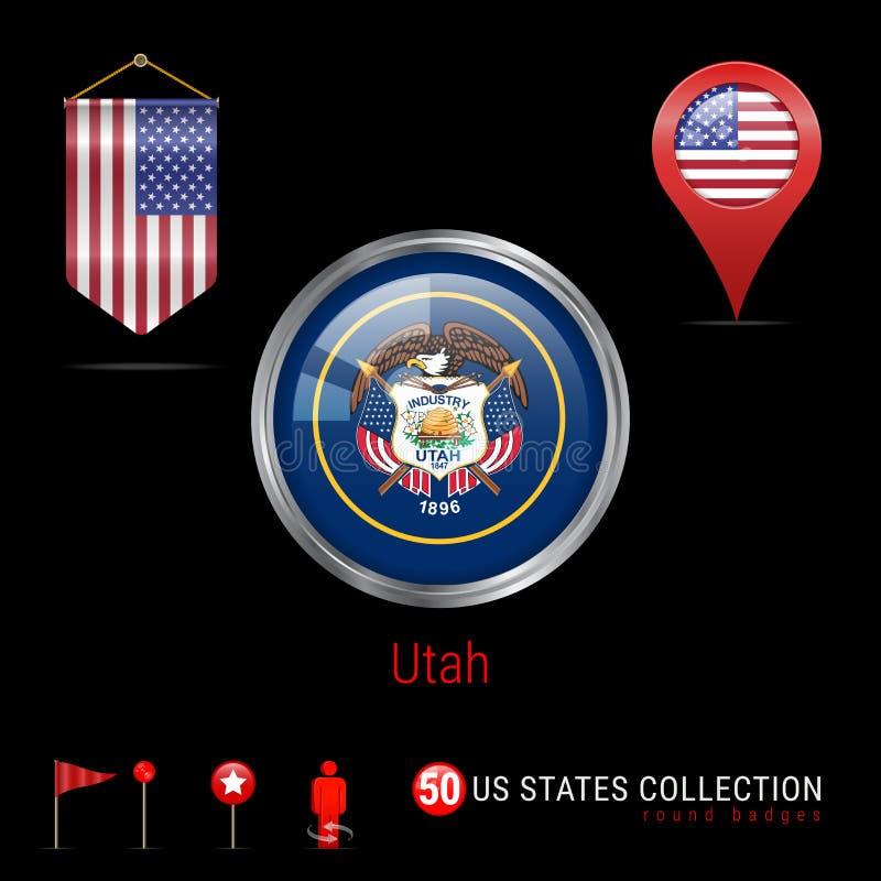 Insigne rond de vecteur de Chrome avec le drapeau d'état de l'Utah USA Drapeau de fanion des Etats-Unis Indicateur de carte - Eta illustration libre de droits