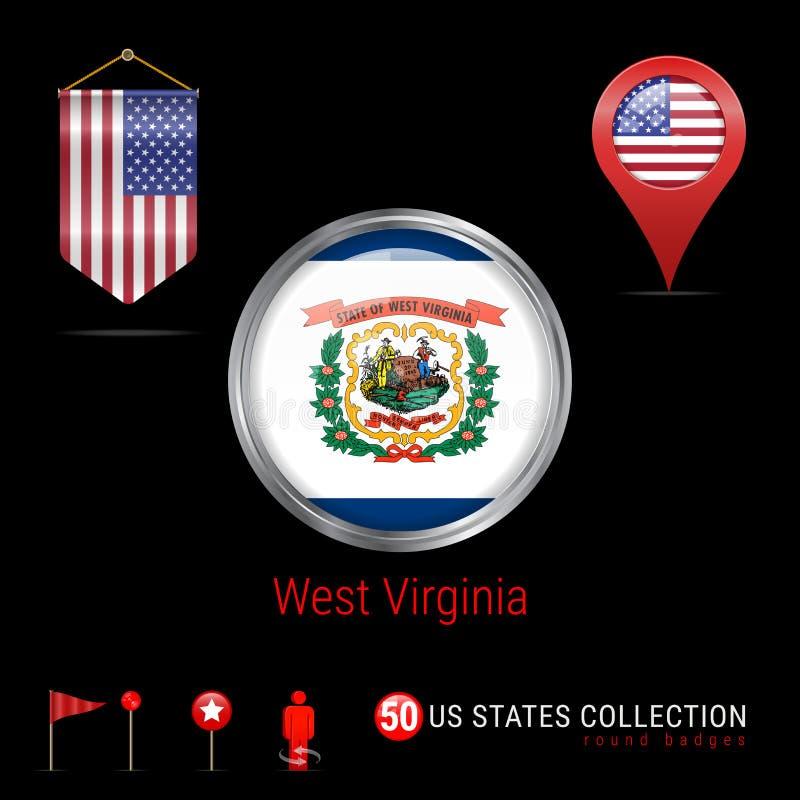 Insigne rond de vecteur de Chrome avec le drapeau d'état de la Virginie Occidentale USA Drapeau de fanion des Etats-Unis Indicate illustration stock