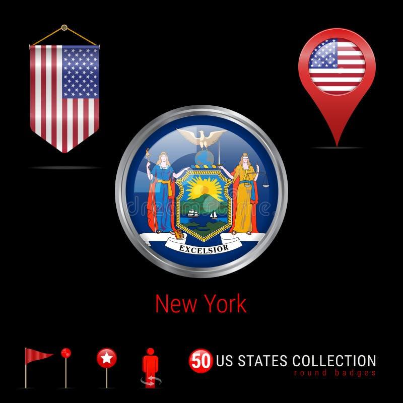 Insigne rond de vecteur de Chrome avec le drapeau d'état de New York USA Drapeau de fanion des Etats-Unis Indicateur de carte - E illustration de vecteur