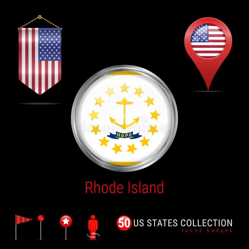 Insigne rond de vecteur de Chrome avec le drapeau d'état de Rhode Island USA Drapeau de fanion des Etats-Unis Indicateur de carte illustration libre de droits